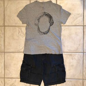 TEEN BOYS' or MEN'S BELTED CARGO SHORTS & TEE